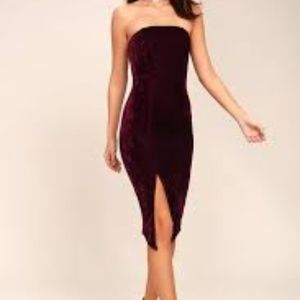 Lulus Burgundy Bodycon Strapless Dress Size S